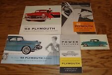 Original 1955 Plymouth Full Line 5 Piece Lot 55 Brochure Accessories Features