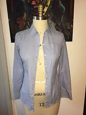Martin & Osa Sky Blue White Checkered Gingham Long Sleeve Blouse Work Shirt S