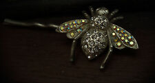 Vintage Bumble Bee Insect Crystal Hair Pin