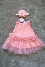 New 2Pc Pink Lace Flower Dress & Matching Headband Outfit Set Lot Baby Girl 6 M