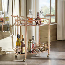 Metropolitan Rose Gold Metal Mobile Bar Cart with Black Glass Top by INSPIRE Q