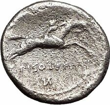 Roman Republic Rome 90BC Apollo Horse Racing Original Ancient Silver Coin i55691