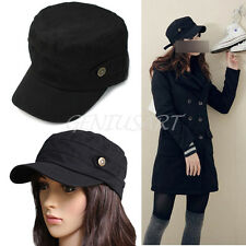 New Mens Womens Cool Army Cadet Military Flat Top Hats Caps Black Adjustable