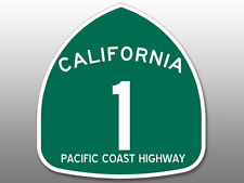 4x4 inch Green PCH Pacific Coast Highway 1 Sign Shaped Sticker - road california