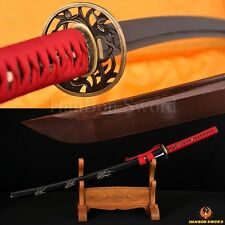 Hand Forged Samurai Japanese Sword Katana Black & Red Damascus Steel Blade Sharp