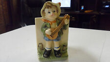 VINTAGE BOY  PLAYING GUITAR PLANTER MAKER UNKNOWN FROM OLD ESTATE