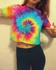 Tie Dye Crop Top T-Shirt Vibrant Rainbow Spiral Top Tumblr Festival Adult Small