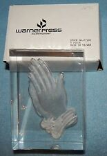 "Praying Hands, Etched Plastic Desktop Sculpture / Paperweight, 3 1/2"" tall, New"
