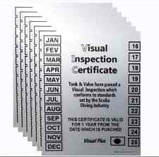 Scuba Diving Visual Inspection Stickers For Scuba Cylinders 10 pcs Certificate