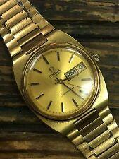Vintage Omega Seamaster Automatic Day&Date Men's Analog Gold Dress Watch Swiss