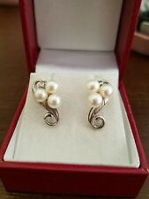 Vintage Mikimoto pearl and sterling silver pierced earrings