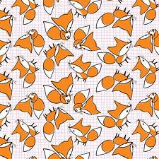 Fabric Foxes Orange on White Flannel 1 yard