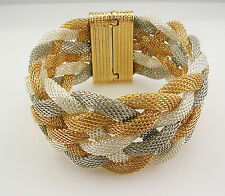 "Kenneth Jay Lane Textured Mesh Magnetic Bracelet   Average 7 1/2""  Gold  Multi"