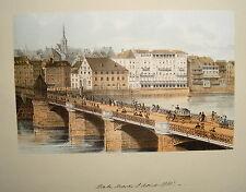 Basel Rheinbrücke Dom Schweiz seltene alte altkolorierte Lithographie 1840