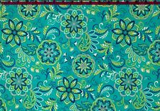 100% Cotton Quilting Fabric Turquoise Aqua Apple Flower Mandala RICHLOOM BTHY
