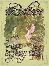 Believe in Fairy Tales Metal Sign, Vintage Fairy and Frog, Retro Childrens Decor