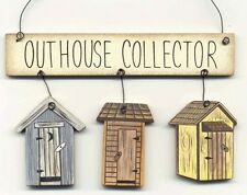 "4x5""  Rustic Country Wood OUTHOUSE Collector Bath Bathroom Wall Art Decor Sign"