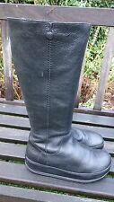 FITFLOP BLACK LEATHER KNEE HIGH  ZIP BOOTS   - EU42 -  UK8
