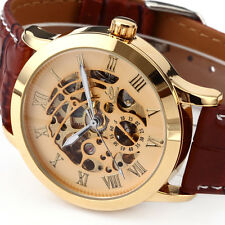 U.S.A Skeleton Classic Automatic Mechanical Mens Gold Dial Sport Watch