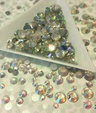 AB CLEAR Flat Back RESIN RHINESTONES 1000 Pcs FACETED 3mm 4mm 5mm 6mm MIXED SIZE