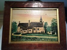 Charming Small Antique Naive Oil On Wooden Panel In Oak Frame