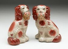 New Staffordshire King Charles Spaniel Dog Pair Figurines w/ Baskets 6 1/2 nches