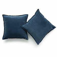 Set of 2 Navy Blue Solid Velvet Decorative Cushion Cover Sofa Pillow Case 18x18""