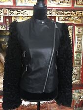 Alexander McQueen NWT Black Leather Motorcyle Jacket  with Lamb Fur Sleeves