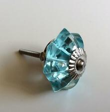 Aqua Blue Glass Flower Cabinet Knobs Dresser Drawer Pulls