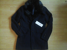 Women's Kh Weichao navy blue & black fur Coat Size L, 12-14-New