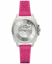NWT COACH WOMEN'S BOYFRIEND FUCHSIA LOGO-EMBOSSED RUBBER STRAP WATCH 14502092