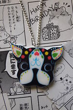 Boston Terrier Sugar Skull Necklace - Rockabilly Tattoo Candy Pug Dog Colour
