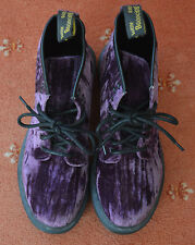 Ladies Dr Martens Purple Velvet Boots 8 Eyelet UK Size 7 NEW