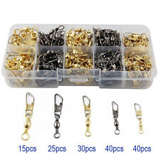 150Pcs Fishing Barrel Swivels with Safety Snaps Ball Bearing Connectors Combo