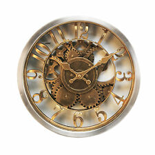 RETRO VINTAGE PIERCED  ROUND GOLD & SILVER 3D SKELETON COGS METAL WALL CLOCK.NEW