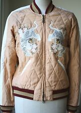 CHLOE REVERSIBLE QUILTED SATEEN PEACH BOMBER JACKET FR 34 UK 6/8