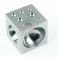 "2"" x 2"" Steel Dapping Block - 18 Half Spheres - Dapping & Doming Jewelry Tool"