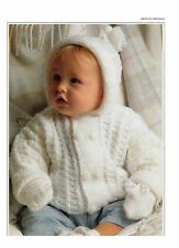 baby hooded jacket and mitts knitting pattern 99p