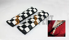 2002-2013 MINI COOPER S CHECKERED LEATHER FLAG COMFORT SEATBELT SHOULDER PAD X 2