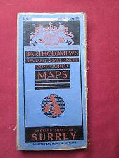 """Bartholomew's Sheet 30 (B4) 1/2"""" Map Surrey dissected and mounted cloth 1938"""