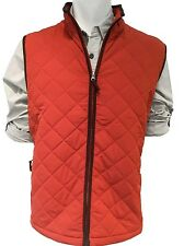 Men's Field And Stream Quilted Vest With Faux Suede Trim Color Rust Size Small