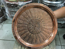Traditional Turkish Handmade Copper Serving tray 24-25cm diameter