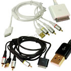 Composite AV Video to TV RCA Cable USB Charger For iPod iPad 2 3 iPhone 4 4S 3GS