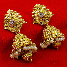 Goldplated CZ Traditional Bollywood Ethnic Jhumka Earrings Indian Women Jewelry