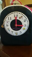 NEW Betsey Johnson Black Clock Backpack msrp $118 - Full Size to Fit Schoolbooks