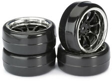 "RC Car Wheel Set Drift LP "" 9 Spoke / Profile B"" black/chrome 1:10 (4 pcs) TT-01"