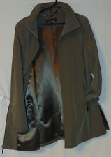~JONES NEW YORK WOMENS POLYESTER SPANDEX COAT OLIVE WATER RESISTANT SZ L