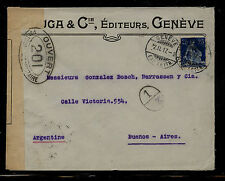 Switzerland  censor cover to Argentina  WW1        MS0922