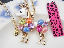 Betsey Johnson lovely gem Rhinestone Poodle Pendant Necklace