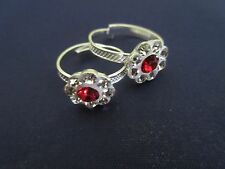Indian Ethnic Women's Silver Plated Red Stone Adjustable Foot Toe Rings